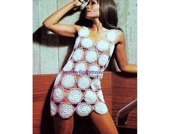 INSTANT DOWNLOAD PDF Vintage Crochet Pattern  Mini Tunic Dress Beach Cover Up   1970s Retro