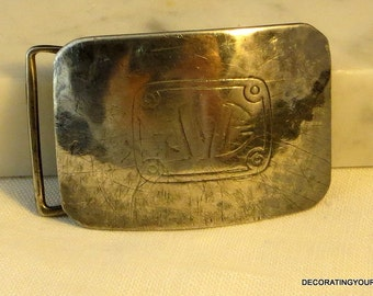 1920s William B. Kerr Art Nouveau Belt Buckle Sterling Silver Hammered Monogram JVC
