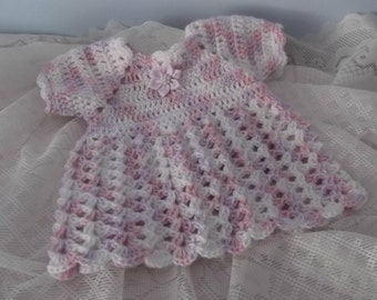 Classic Shell Baby Dress - Short Sleeve - preemie or small newborn - ready to ship