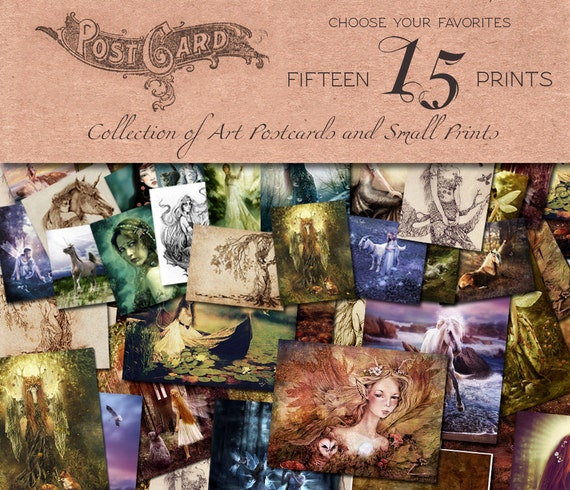 You Choose, ANY combination 15 Postcard Prints, Fantasy Illustrations by Ginger Kelly
