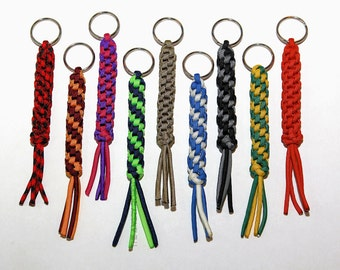 Round Sinnet Paracord Key Fob Keychain - You Choose The Colors