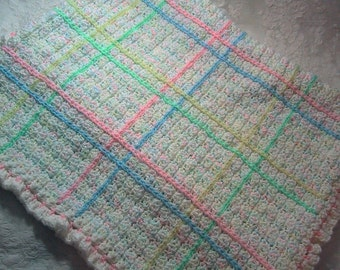 Crocheted Baby Afghan - Pastel Plaid - Nice Baby Shower Gift for Baby Girl or Boy - Handmade - Ready to Ship - Multi-color Pastels