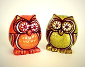 Owl salt and pepper shakers ceramic painted orange green spring home decor woodland folk art - READY TO SHIP
