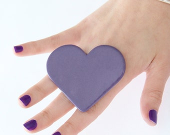 Big Purple Heart Ring, Ceramic Ring - statement ring, bold ring, large ring, adjustable ring, cocktail ring - 2.5 inch