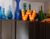 "Letter Light W - RUSTY - 12"" Vintage Marquee Lights-The Original!"