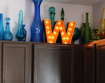 """SALE - Light Up Letter W - RUSTY - 12"""" Vintage Marquee Lights-The Original!"""
