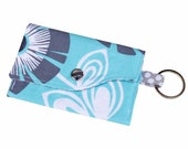 Mini Wallet with Wristlet or Lanyard Options -- Aqua and Gray Flowers with Dots