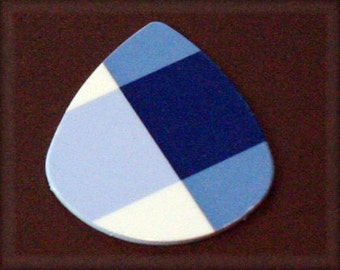 Blue Plaid Pick-Limited Edition-Upcycled Gift Card-Med Guitar Pick