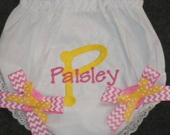 Baby Bloomers, Embroidered Monogram Bloomers, Personalized Diaper Cover with Bows
