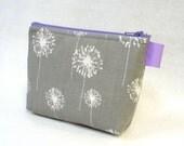 Lavender Purple Gray Dandelion Fabric Gadget Pouch Cosmetic Bag Zipper Pouch Makeup Bag Bridesmaid Gift MTO
