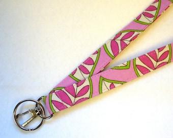 Leaf Print Fabric Lanyard Breakaway Lanyard ID Badge Holder ID Clip Key Ring Fob Hot Pink Raspberry Lime MTO