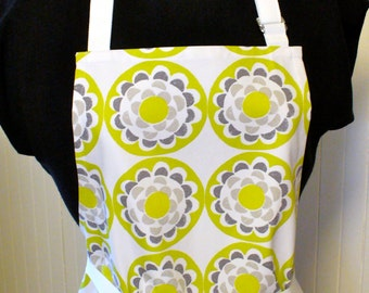 Suzani Floral Womens Apron Full Apron Chefs Apron Adjustable Apron Gray Apple Green White Ty Pennington Handmade MTO
