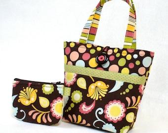 Cute Little Girls Purse Mini Tote Bag and Coin Purse Set Pink Blue Brown Floral Paisley Polka Dot Handmade MTO