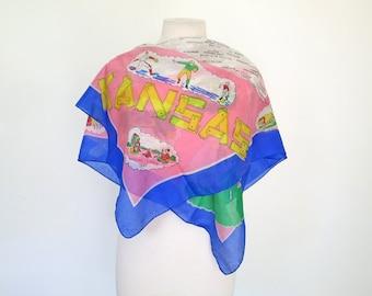KANSAS // pink silk 1950s or 60s souvenir scarf
