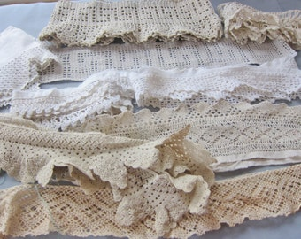 pillowcase lace, large lot , hand made , 1930s  - 1950s