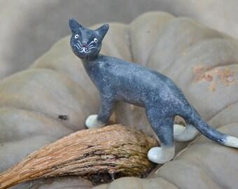 Cat Kitty sculpture figurine handmade air-dry clay (ooak)
