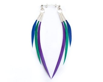 Unusual Triple Spike Feather Earrings on Silver Studs in Emerald Green, Neon Purple & Electric Blue