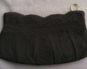 Cordé Black Bag Clutch Purse 1940s Rare Dainty Art Deco Classic Handbag from FavoriteCollectibles