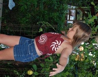 Hippie Halter top Girls - Red Spiral- size 5-6-7-8-9  fits many sizes - Read Measurements