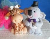 Giraffe and Koala Bear Lovey Dovey Animal Wedding Cake Topper
