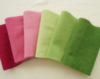 Solid Pink and Green Hand dyed felted wool in a range of Pink and Green tones perfect rug hooking and applique wool 4498