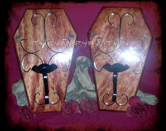 OOAK Vampire Halloween Coffin Bat Candle Sconces