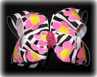Glitter Retro Flower Double Layered Boutique Lush Hair Bow Sparkle Pink Black Yellow Striped Spikey Colorful Baby Toddler or Little Girl