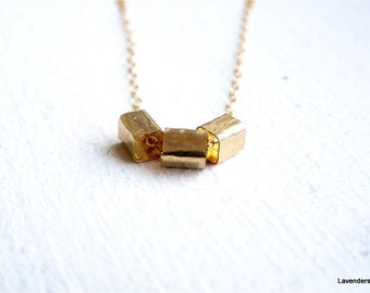 Gold Square Tube Necklace , Three Geometric Square Tubes , Gold Necklace , Industrial Jewelry , Bar Necklace , geometric