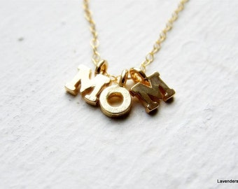 Mom  Necklace , Mom  Letters Necklace , Three Gold Initial Charm Necklace , Gold Necklace , Personalized jewelry , Mommy Necklace , Mother