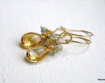 Citrine Earrings , Apatite Earrings , Gold Fill , November Birthstone , Gold Drop Earrings , Wire Wrapped