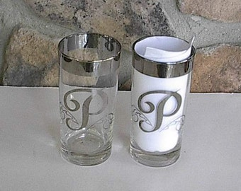 A Pair of Tall Bar Ware Glasses Letter P
