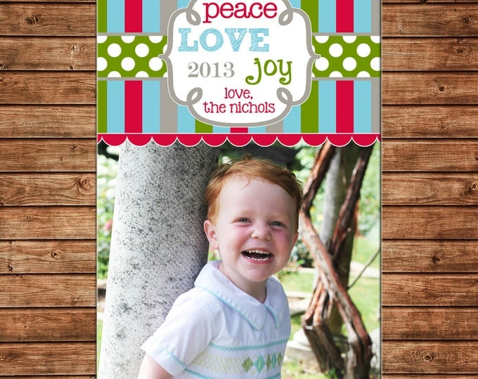 Christmas Holiday Photo Card Multi Stripe Polka Dot - Can Personalize - Printable File or Printed Cards