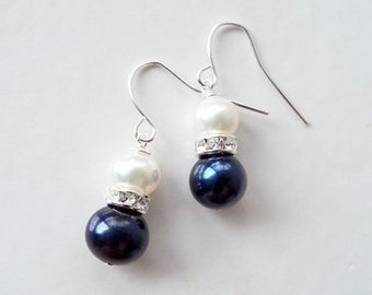 Black and white freshwater pearl earrings with silver rhinestone on silver plated surgical steel ear wires