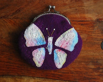 Vintage Embroidery Butterfly Patchwork Purse (Metal Frame, My Own Design )
