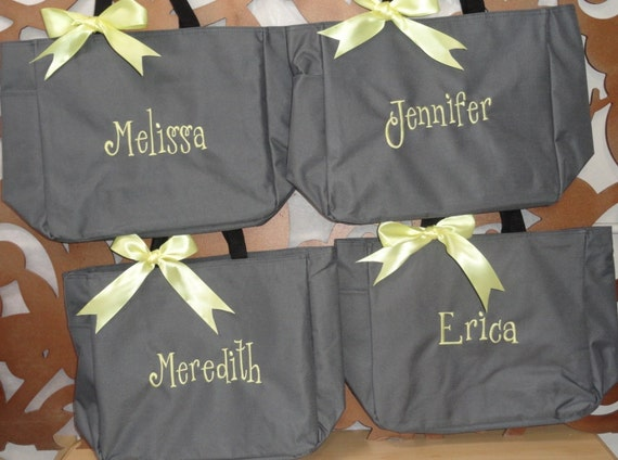 12 Personalized Bridesmaid Gift Totes, Monogrammed Tote Bags, Personalized Tote, Bridesmaids Gift