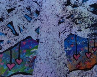 Mini Original Abstract on Canvas Panel 7x5in Tree Beautiful Colors Handpainted Original Heather Montgomery Art