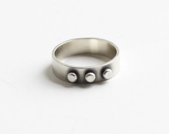 "Edgy solitary silver band embellished with three silver dots, perfect ring for stacking with others, 5mm wide silver band - ""Union Ring"""