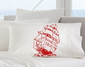 One (1) Red Clipper Nautical Bedding Pillowcase Sail boat pillowcover Pirate Ship pillow cover case Standard / Queen Size