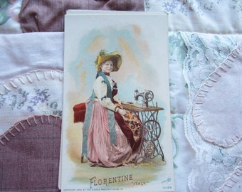 SALE 1892 Singer Sewing Machine Advertisement  Card National Ethnic Dress Costume ITALY FLORENTINE