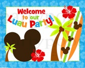 Mickey Mouse Luau, Mickey Luau, Mickey Party Sign, Mickey Printable, Mickey Luau Birthday, Luau Party , Mickey Party, PDF, NSTANT DOWNLOAD