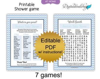 DIY editable printable baby shower games PDF (No.2) chevron boy blue - word search scramble bingo price purse Digital File