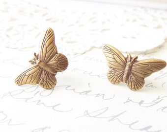 Butterfly Earrings - Post Earrings - Woodland - Ox Brass Butterfly - Nature - Flight - Wings
