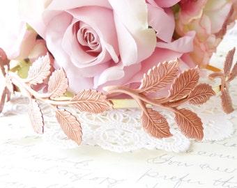 Rose Gold Leaf Branch Headband - Gold Headband - Bridal Crown - Leaf Spray - Woodland Collection - Whimsical - Nature - Bridal