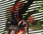 Red and Black Striped Teardrop Fascinator Hat