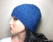 LORO PIANA 100% Pure Cashmere Womens Knit Hat Beanie, Blue, Custom Sizes for Adult Woman Teens Girls // BLEECKER // Warm Winter Handknit Cap
