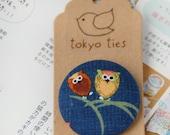 Kawaii Japanese Button Brooch- Japanese owl