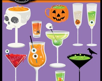 Halloween Cocktails Digital Clipart for Personal and Commercial Use