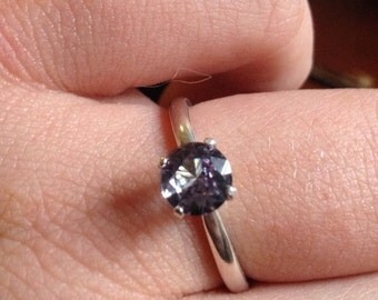 Synthetic Alexandrite and Sterling Silver Solitaire Ring - Size  6 JUNE Birthstone