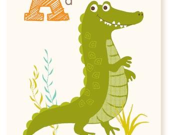 ABC card, A is for Alligator, ABC wall art, alphabet flash cards, nursery wall decor for kids