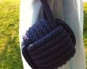Nautical Tieback - Nautical Home Decor - 1 navy blue rope curtain tie back - drapery holder